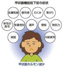 甲状腺機能低下症の諸症状